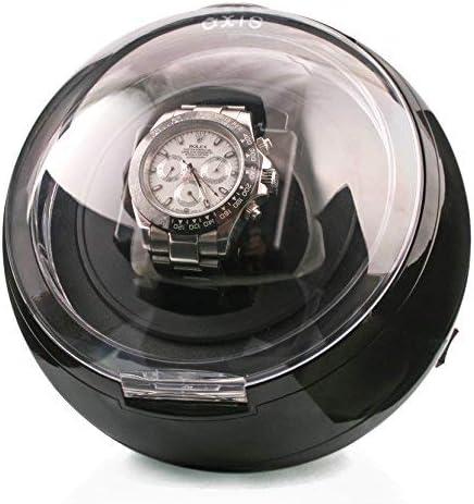 AXIS® - Vitrina exhibidora móvil esférica para un reloj, caja giratoria para cargar relojes automáticos, con luz led azul, en color negro: Amazon.es: Relojes