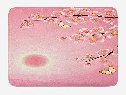 Graffiti-AOka Asian Bath Mat, Cherry Blossom Tree with Sun Scenery on Backside Spring Days Butterfly Nature Print, Plush Bathroom Decor Mat with Non Slip Backing, 23.6 W X 15.7 W Inches, Pink Yellow