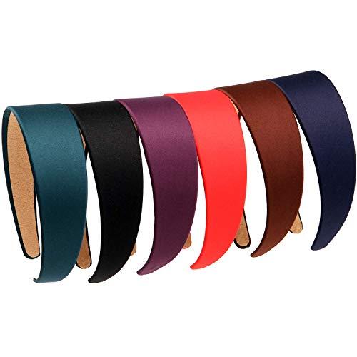 LONEEDY 6 Hard Headbands, 1.6 Inch/4CM Wide Non-slip Ribbon Hairband for Women (Mixed color)