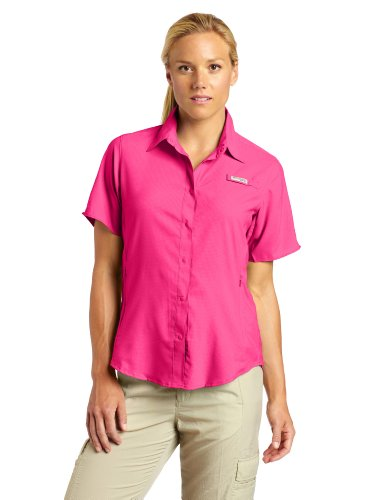 Columbia Womens Tamiami II Short Sleeve Shirt, Large, Bright Rose