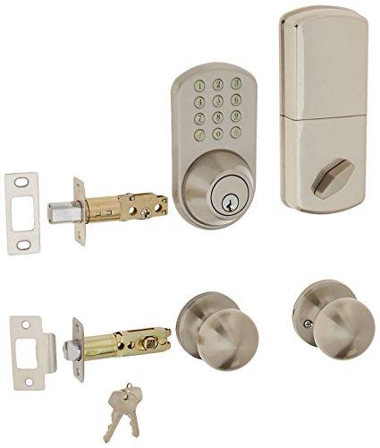 MiLocks TFK-02SN Digital Deadbolt Door Lock and Passage Knob Combo with Keyless Entry via Keypad Code for Exterior Doors, Satin Nickel MiLocks