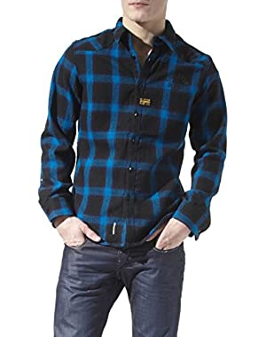G Star RAW Blue Orson Narvik Checked Overshirt, Fisher Blue, Size XXL