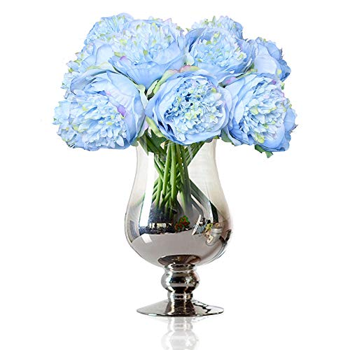 Felice Arts Silk Peony Bouquet 5 Heads Artificial Fake Flower Bunch Bouquet Bridal Bouquet Wedding Living Room Table Home Garden Decoration (Blue)
