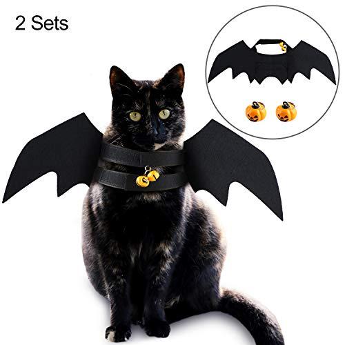 Frienda 6 Pieces Halloween Pet Bat Costume Wings Pumpkin Bells Dog Cat Halloween Cosplay Costume for Halloween Pet…