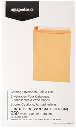 AmazonBasics Catalog Envelopes, Peel & Seal, 9 x 12 Inch, Brown Kraft, 250-Pack Photo #4