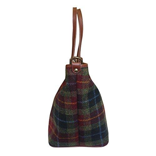 Bonfanti Leder und Harris Tweed Shopper Tragetasche Handtasche - grün und rot Tartan