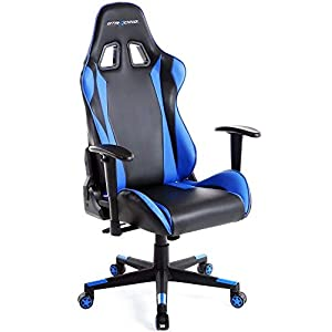 GTRACING Gaming Racing Chair with Footrest Backrest and Seat Height Adjustment with Pillows Recliner Swivel Rocker Tilt E-Sports Chair