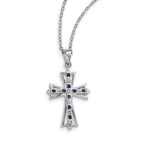 925 Sterling Silver Diamond Mystique Platinum Plated Dia/sapphire 18 Inch Cro925 Chain Necklace Pendant Charm Cross Crucifix Fine Jewelry Gifts For Women For Her