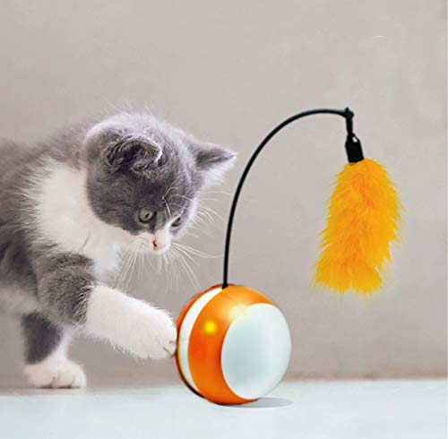 Umiee Cat Toy Smart Ball for Interactive Automatic Ball Cat Toy with Feather and Bird Sound