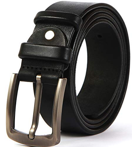 (Heavy Duty 10 oz Full Grain Men Leather Belt - 100% Thick Solid Cow Leather. Durable and strong. (XL-128cm>42-46
