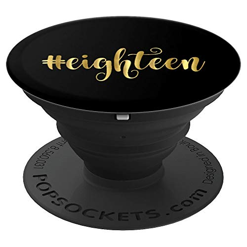 18th Birthday Gift Party Favor Girl Hashtag Eighteen 18 - PopSockets Grip and Stand for Phones and Tablets ()