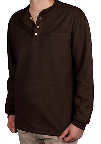 Woodland Supply Co. Men's Sherpa Lined Warm Winter Thermal Henley (Medium, Dark Brown) ()