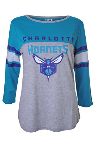 NBA Charlotte Hornets Women's T-Shirt Raglan Baseball 3/4 Long Sleeve Tee Shirt, Small, ()