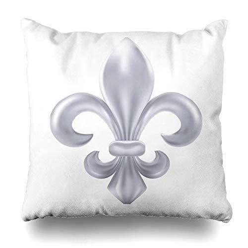 Ahawoso Throw Pillow Cover Square 20x20 Inches Fleur Silver Fleurdelis Nature De Lis Vintage Arms Classic Clip Design Zippered Cushion Pillow Case Home Decor Pillowcase