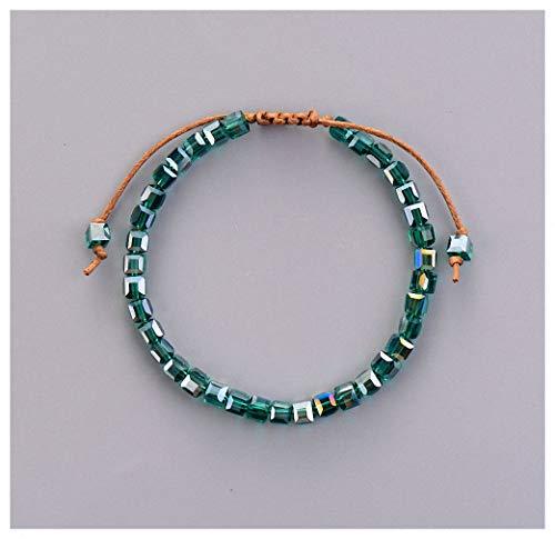 Barsly Bling Crystal Bead Friendship Bracelet Coloful Adjustable Bracelet for Women Beaded Bohemia Bracelet Blue Nile