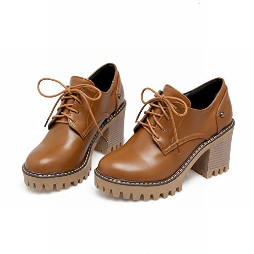 Mee Shoes Damen chunky heels gefüttert Schnürhalbschuhe Gelbbraun