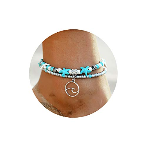 (FINETOO Wave Blue Starfish Silver Turtle Anklet Multi-Layer Turquoise Charm Beads Sea Bench Handmade Boho Anklet Foot Jewelry Gifts for Women)
