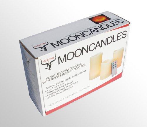 Mooncandles cera, funcionan con pilas,3 unidades Juego de velas con temporizador y control remoto