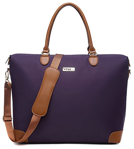 Lined Fully Pocket Two Tote (NNEE Large Oversized Water Resistance Nylon Tote Bag With Multiple Pocket Design - Purple 2)
