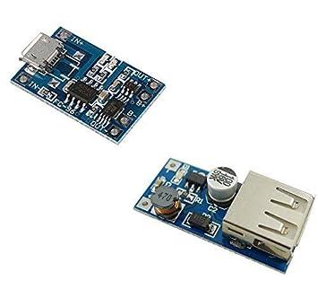 Aihasd Micro USB 5V 1A 18650 Batería de Litio Módulo del Cargador con Protección + DC-DC 0.9V-5V a 5V USB Convertidor de Voltaje Booster Step up ...