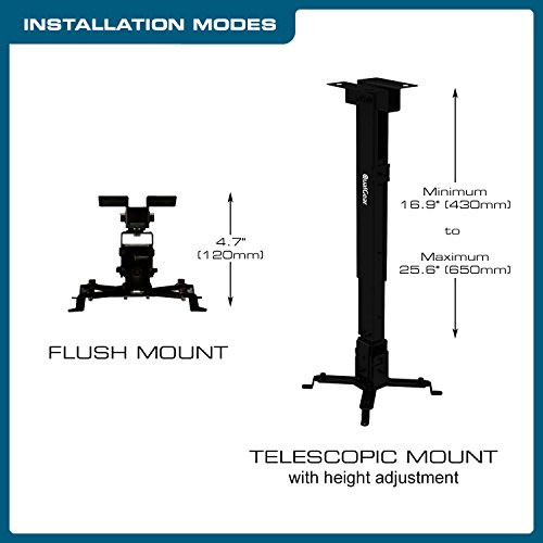 QualGear QG-PM-002-BLK Universal Projector Ceiling Mount, Black