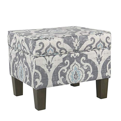 HomePop Square Storage Ottoman with Hinged Lid, Blue Slate