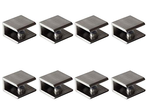 Glass Shelf Brackets Shelf Clips Metal Clamps Brushed Nickel Square Shape Wall Mounted Adjustable 8-12mm for Acrylic Wood (Set of 8)