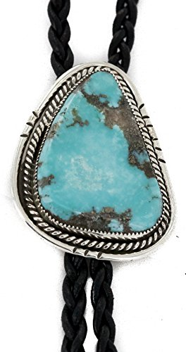 $500 Retail Tag Handmade Authentic Silver Navajo Natural Turquoise Native American Bolo Tie
