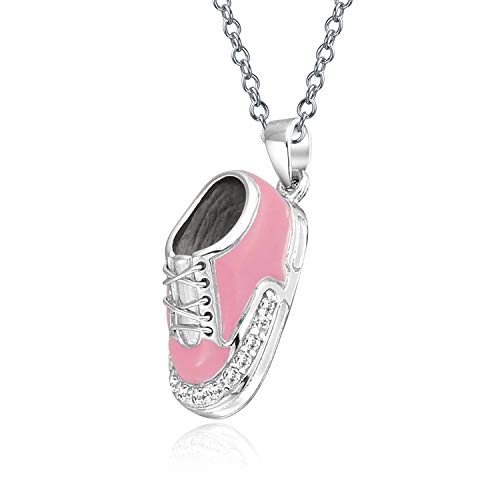 - Engravable Pink Sneaker Baby Shoe Charm Pendant Necklace Gift For New Mother 925 Sterling Silver