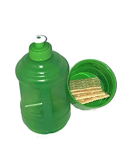 Water Bottle with Twist Snack Storage Cup Holder Container (Green)