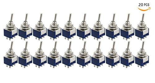 Bestsupplier 20 Pcs AC 125V 6A Amps ON/ON 2 Position DPDT Toggle (Dpdt Toggle)