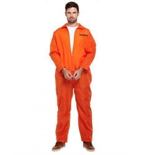 Mens Orange Convict Prisoner Jumpsuit Cops & Robbers Stag Do Fancy Dress Costume Outfit STD & XL (XL) -
