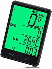 Wireless Bike Computer, Bicycle Speedometer,Cycling Odometer,Multifunction with Extra Large LCD Backlight Disp