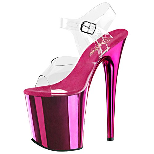 Summitfashions Womens 8 inch Heels Sexy Hot Pink Platform Sandals Clear Ankle Strap Shoes Size: 8 - Pink Stripper Shoes