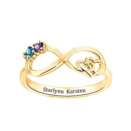 Price comparison product image Infinity Promise Rings Personalized 2 Birthstones Engraved Names Rings for Women(9, Gold-Plated-Base)