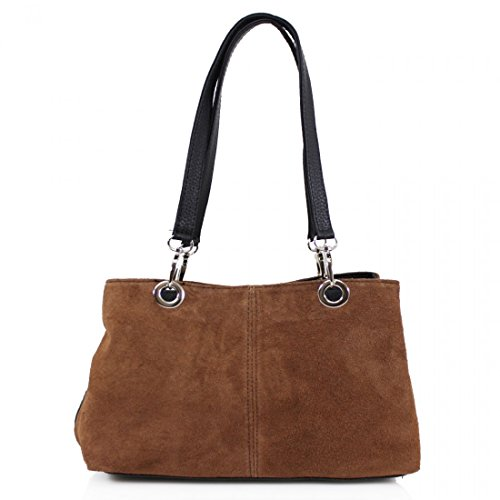 Compartment Clicktostyle Bags Ladies Brown Side Bags Shoulder Suede Women Girls Tripple UUtq1wxr