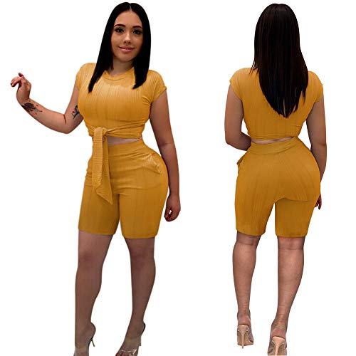 Women Sexy 2 Piece Outfits- Short Pant Rompers Tie Crop Top with Sleeve Pockets Yellow XL