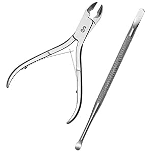 Cuticle Nipper with Cuticle Pusher- Professional Grade Stainless Steel Cuticle Remover and Cutter - Durable Manicure and Pedicure Tool for Fingernails and Toenails by Sterling Beauty Tools