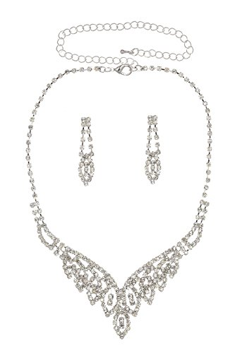 UPC 028672907380, Radiant Leaf Wedding Party Prom Crystal Necklace Earrings Set N344