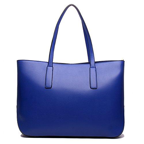 Miss Lulu Damen Leder Großes Handtasche Schultertasche Marineblau