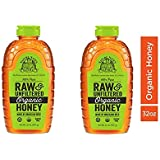 Nature Nate's 100% Pure Raw & Unfiltered Organic Honey; 32-oz. Squeeze Bottle; Made by Brazilian Bees; Enjoy Honey's Balanced Flavor and Wholesome Benefits, Just as Nature Intended (2 Pack)