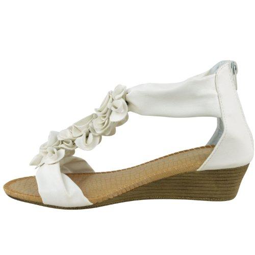 Mujer Sandalias De Verano Tiras Flor Tacón Bajo Plano Zapatos De Cuña Talla Blanco Piel Sintética