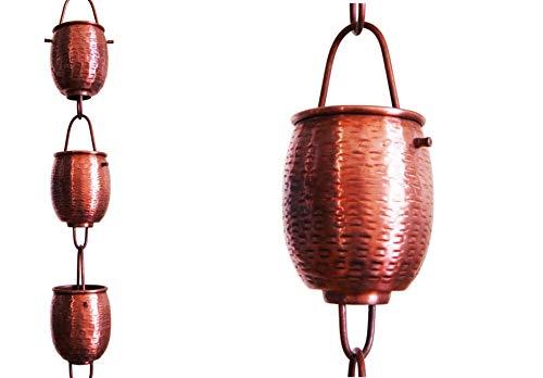 U-nitt 8-1/2 feet Pure Copper Rain Chain for Gutter: Rain Barrel Textured Cup 8.5 ft Length #5553