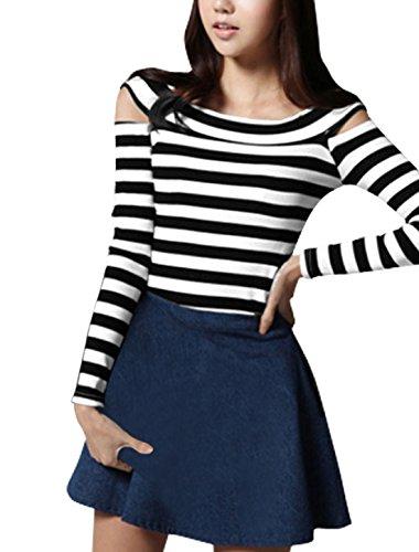 Women Boat Neck Long Sleeve Cutout Shoulder Striped Shirt Black XS