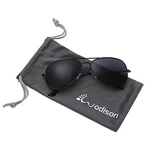 WODISON Classic Kids Aviator Sunglasses Reflective Metal Frame Children Eyeglass Black Frame Black Lens