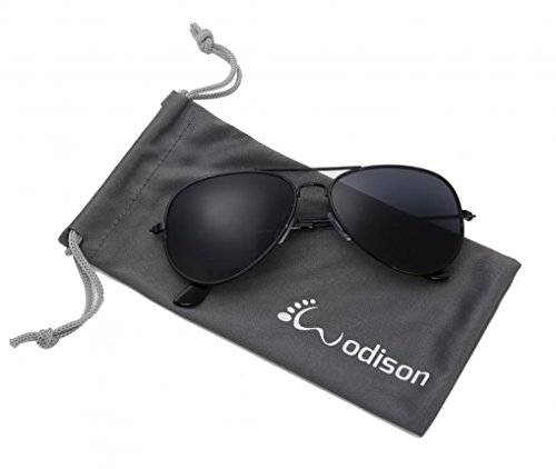 WODISON Classic Kids Aviator Sunglasses Reflective Metal Frame Children Eyeglass Black Frame Black - Kids Shades