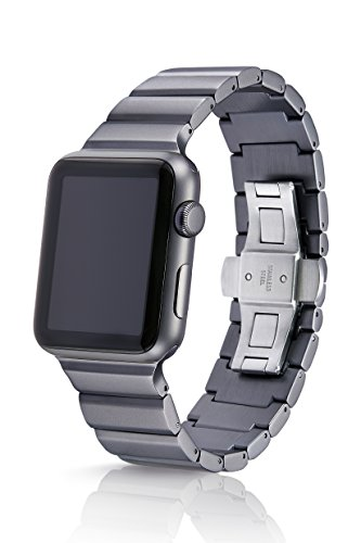 Grey Ligero Premium Watch Band Made for The Apple Watch, Using Aircraft Grade, Hard Anodized 6000 Series Aluminum with a Solid Stainless Steel Butterfly deployant Buckle (Matte) ()