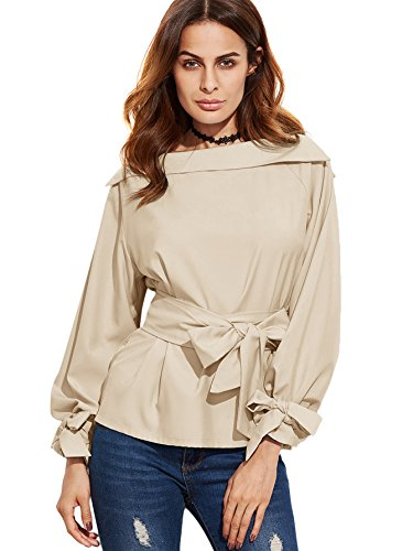 SheIn Women's Boat Neck Belted Tie Cuff Long Sleeve Blouse Top Medium - Long Blouse Sleeve Belted