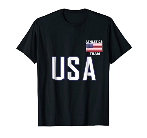 USA Flag Athletics T-Shirt Pocket Running Track Jersey Gift (One Marathon Unisex Pocket Top)