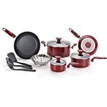 T-fal Enjoy Nonstick 12-Piece Cookware Set, Red